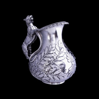 Exceptional sterling silver panther handled askos jug attributed to Giacinto Melillo