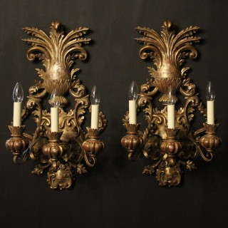 Florentine Pair Of Triple Arm Antique Lights