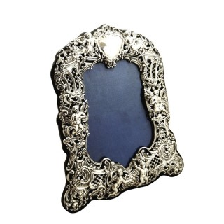 Antique Victorian Sterling Silver 'Cherubs' Photo Frame 1894