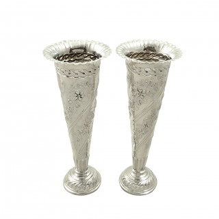 Pair of Antique Victorian Sterling Silver 6 1/2