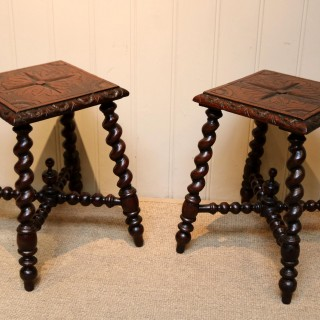 Pair Of Carved Oak Tables