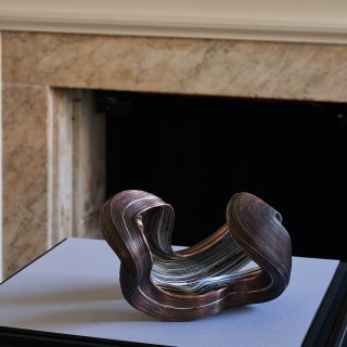 Copper and silver abstract sculpture by Nan Nan Liu