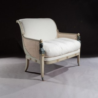 French 19th Century Original Paintwork Second Empire Marquise Loveseat Sofa