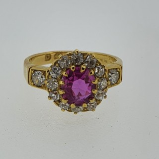 18ct Gold Ruby & Diamond Victorian Cluster Ring