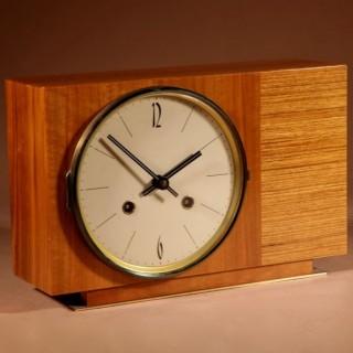 1960s A-Symmetrical Walnut Hermle German Mantel Clock