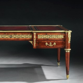 Gilt Bronze Mounted Mahogany Bureau Plat Louis XVI Style Stamped Fournier