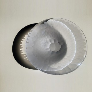 Contemporary furnace glass 'Crystal Hexa Plate' by Vezzini and Chen