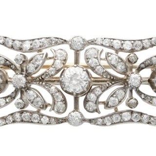 4.30 ct Diamond and 9 ct Yellow Gold Brooch - Antique Circa 1900