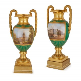 Large of large gilt bronze mounted porcelain vases by KPM