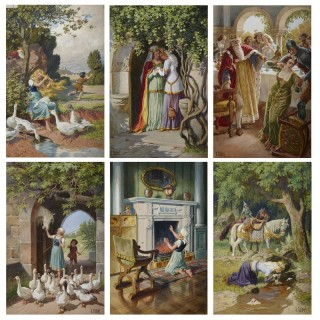Set of six fairytale themed watercolours by German artist Otto Kubel