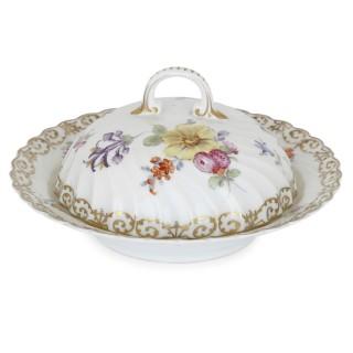 Large floral porcelain dessert service by Dresden