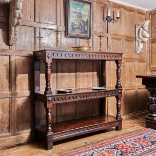 Charles I oak three tier buffet