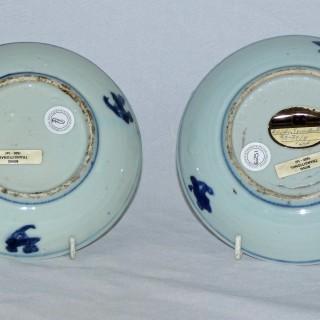 Chinese Ming Blue and white Pair of Ko-sometsuke Plates