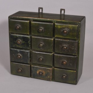 Antique Painted Bank of 12 Spice Drawers