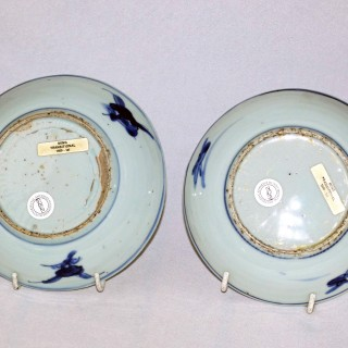 Transitional 17th century Chinese pair of Blue and White Plates