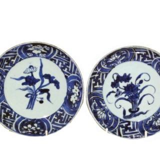Ming Transitional ko-sometsuke pair of Plates