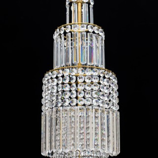 A LARGE REGENCY CRYSTAL CHANDELIER OF CLASSIC TENT AND BASKET DESIGN ATTRIBUTED TO JOHN BLADES