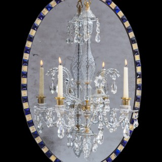 A IRISH GEORGE III OVAL MIRROR CHANDELIER