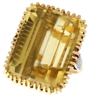 55.16ct Citrine and 0.54ct Diamond, 18ct Yellow Gold Dress Ring - Vintage Circa 1950
