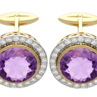 26.9 ct Amethyst, 3.64ct Diamond and 18ct Yellow Gold Cufflinks - Vintage Circa 1960