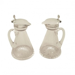Pair of Antique Edwardian Sterling Silver & Glass Whisky Noggins / Jugs - Asprey 1906