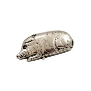 Antique Victorian Sterling Silver Boar / Wild Pig  Vesta 1885