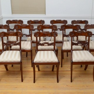 Set Of 12 William IV Mahogany Dining Chairs