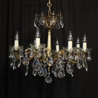 Italian Gilded Brass 8 Light Antique Chandelier