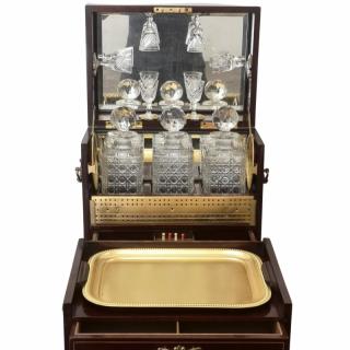 19TH CENTURY MAHOGANY INLAID DRINKS AND GAMES COMPENDIUM