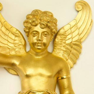 Pair of French Early 19th Century Empire Gilt Bronze Putto Wall Lights