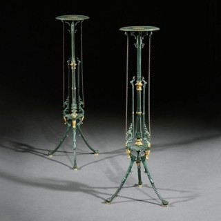 Decorative Pair Of 19th Century German Painted Cast Iron Stands By Zimmermann