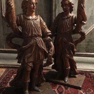 Italian Late C17th Tall Candlestick Figures