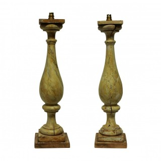 A PAIR OF LARGE XIX CENTURY BALUSRADE LAMPS