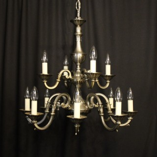 French Silver Gilded 12 Light Chandelier