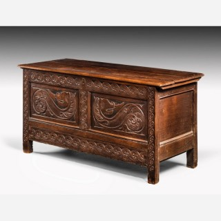 Charles II Period Oak Dower Chest of Good Size