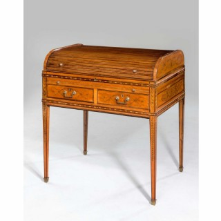 George III Period Metamorphic Satinwood Tambour-Top Desk