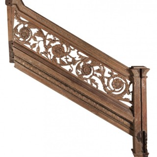 17th Century Carved Oak Staircase with Pine Panel