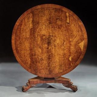 Fine Regency Burr Oak Tilt Top Table