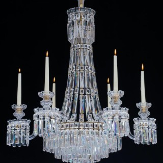 A SIX LIGHT WILLIAM IV TENT AND WATERFALL CHANDELIER