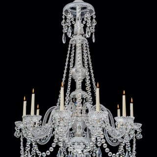 A FINE TEN LIGHT CUT GLASS ANTIQUE CHANDELIER BY PERRY & CO