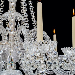 A FINE TEN LIGHT CUT GLASS ANTIQUE CHANDELIER BY PERRY & CO