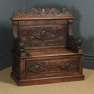 Antique English Victorian Carved Oak High Back Hall Monks Bench Settle (Circa 1870)