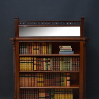 Exceptional Quality Solid Mahogany Aesthetic Movement Open Bookcase