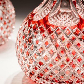 A FINE VICTORIAN RED OVERLAY CUT GLASS SUITE
