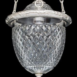 A VICTORIAN SILVER MOUNTED DIAMOND CUT GLASS HALL LANTERN BY F&C OSLER