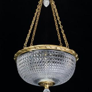 A LARGE ELABORATELY CUT BOWL LIGHT BY F&C OSLER