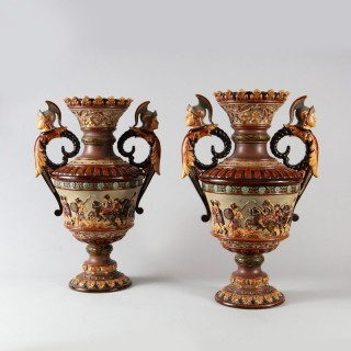 A pair of Romantic late 19th century Neo-classical vases