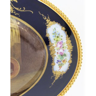 Antique Sevres Porcelain Ormolu Mounted Oval dish 19th Century