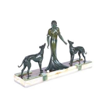 Antique Art Deco Bronze Figure of A Maiden & Hounds P.Huguenot C1920