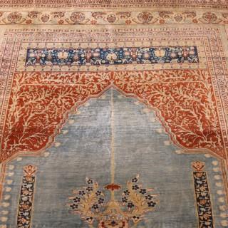Silk Persian Tabriz Prayer Rug